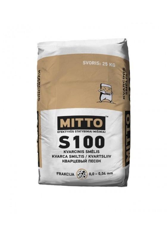 Kvarcinis smėlis S100, frakcija 0,00 -0,04 mm, 25 kg, MITTO
